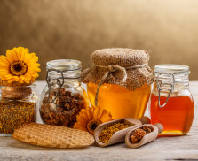 Various types of honey and bee products