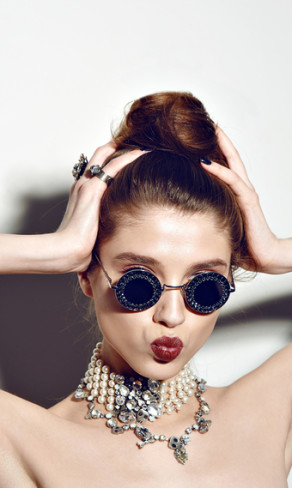 Young sexy emotional woman wear summer sunshine mirrored sunglasses,summer frock, swag and bright make up red lips,show emotions, Lifestyle portrait Urban fashion on white background