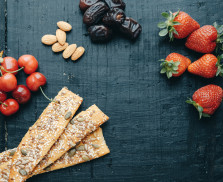 Useful snacks: strawberries, cherries, dates, almonds, breads