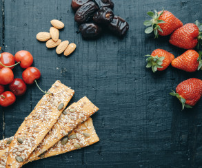 Useful snacks: strawberries, cherries, dates, almonds, breads